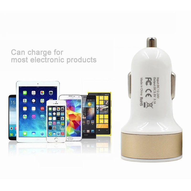 Mobile phone charger universal output car charger 2 in 1 dual usb port car charger