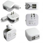 US/EU Universal 2In1 Combo Car and Home Travel Wall Charger W/ Two 2.1A USB Ports