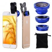 Clip 180 Degree Fish Eye Lens + Wide Angle + Micro Lens Kit for iPhone Samsung cell phone Blue