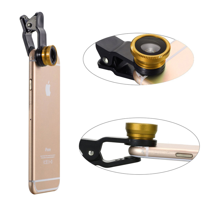 Clip 180 Degree Fish Eye Lens + Wide Angle + Micro Lens Kit for iPhone Samsung cell phone Gold