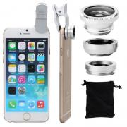 Clip 180 Degree Fish Eye Lens + Wide Angle + Micro Lens Kit for iPhone Samsung cell phone White